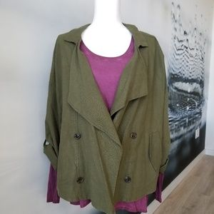 Love Tree olive green linen motorcycle cut jacket